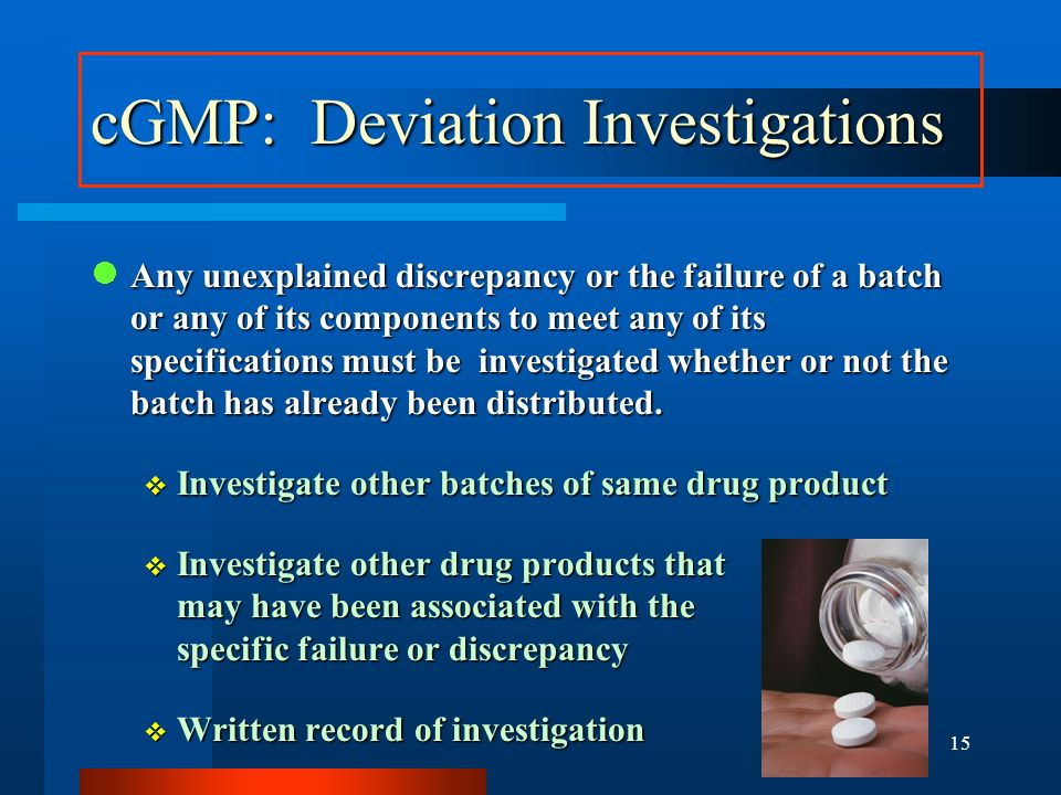 cGMP: Deviation Investigations
