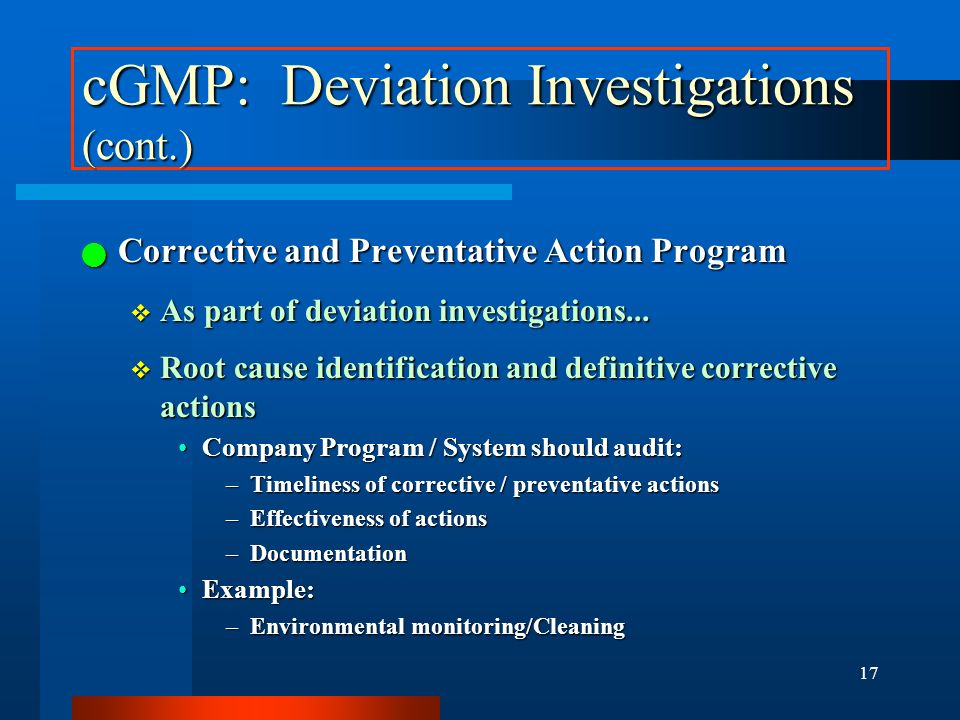 cGMP: Deviation Investigations (cont.)