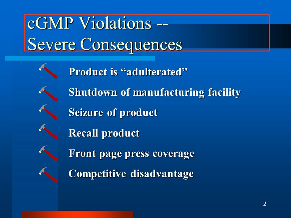 cGMP Violations -- Severe Consequences