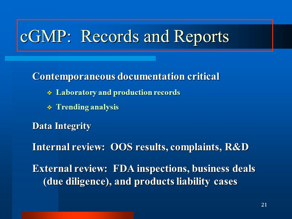 cGMP: Records and Reports