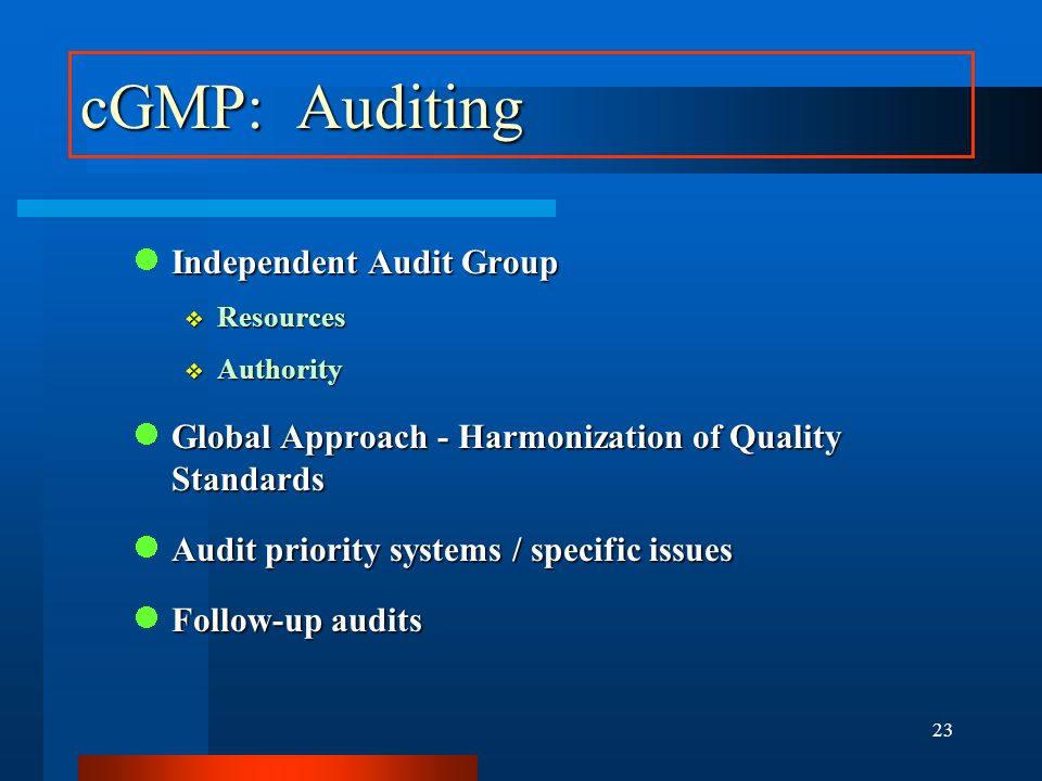 cGMP: Auditing Independent Audit Group