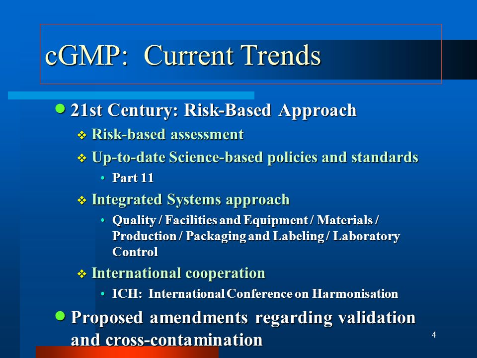 cGMP: Current Trends 21st Century: Risk-Based Approach
