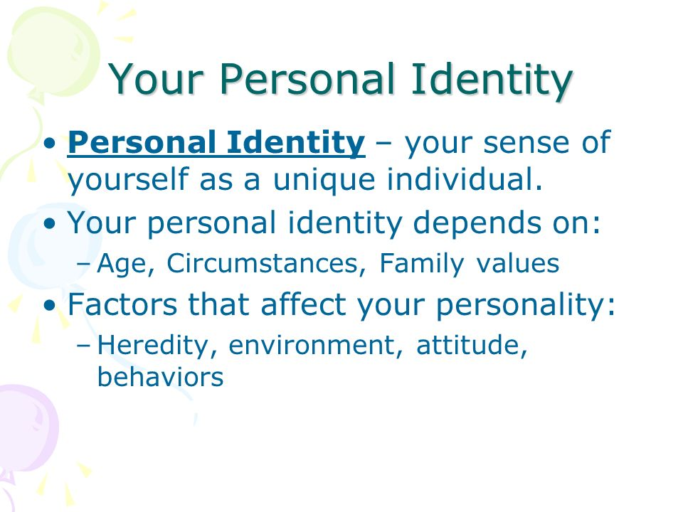 "factors that influences one s sense of self While many factors make up human self-identity, most americans agree the primary factor is family nearly two-thirds say their family makes up ""a lot"" of their personal identity (62%) in a recent study, barna group asked adults how much a variety of factors influences their personal identity."