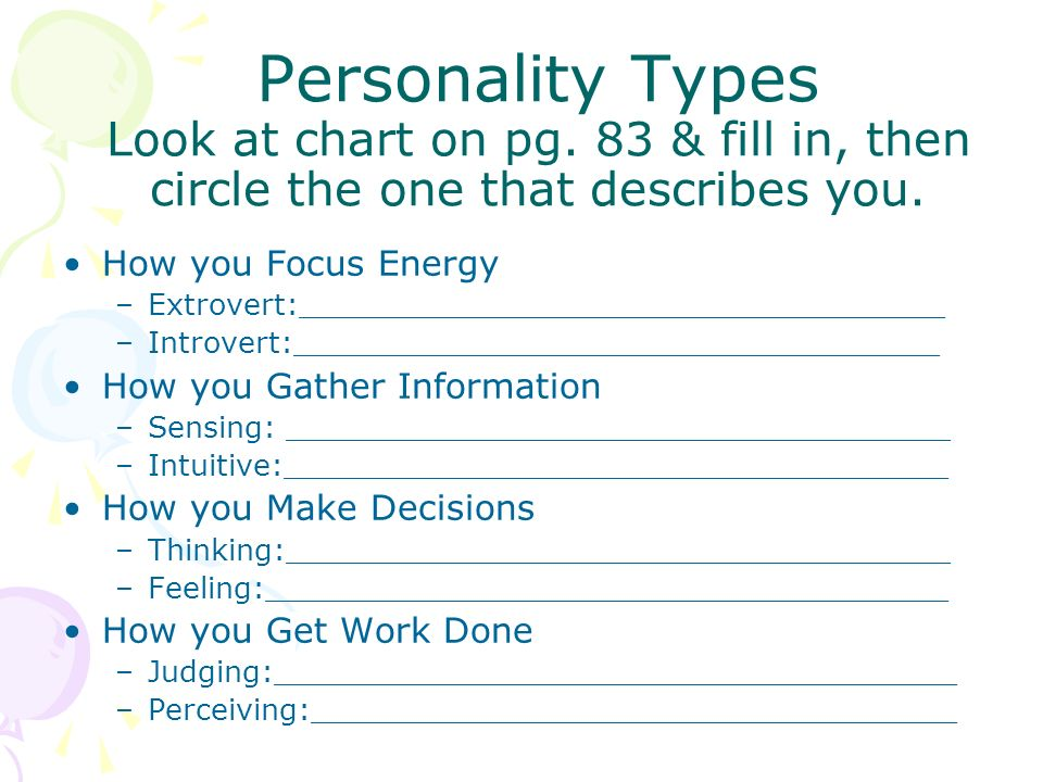 Personality Types Look at chart on pg
