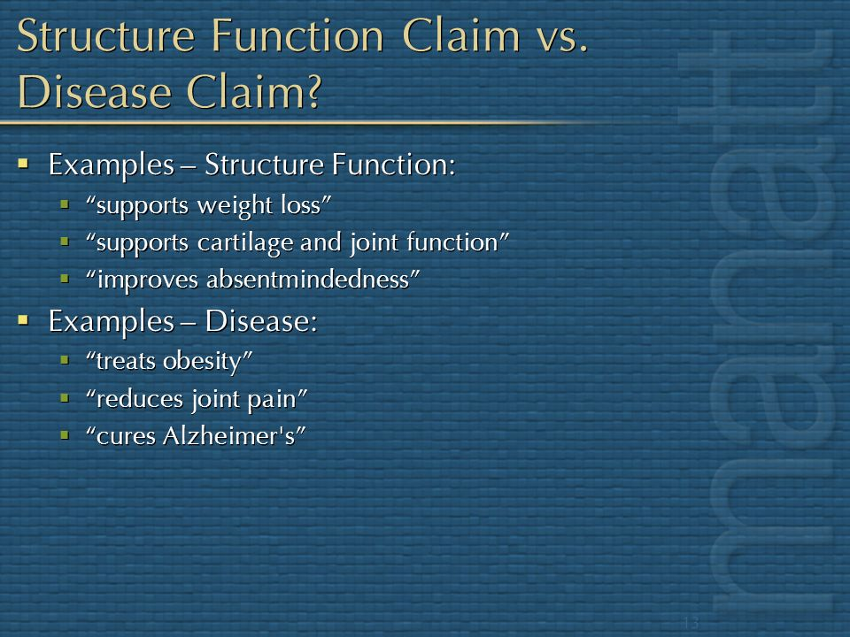 Structure Function Claim vs. Disease Claim