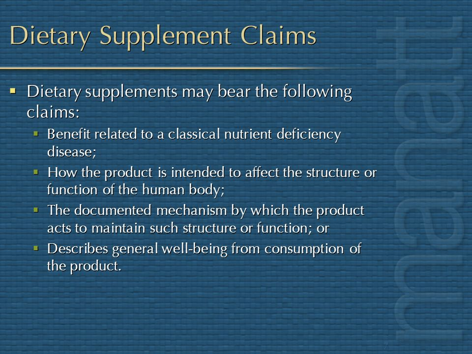 Dietary Supplement Claims