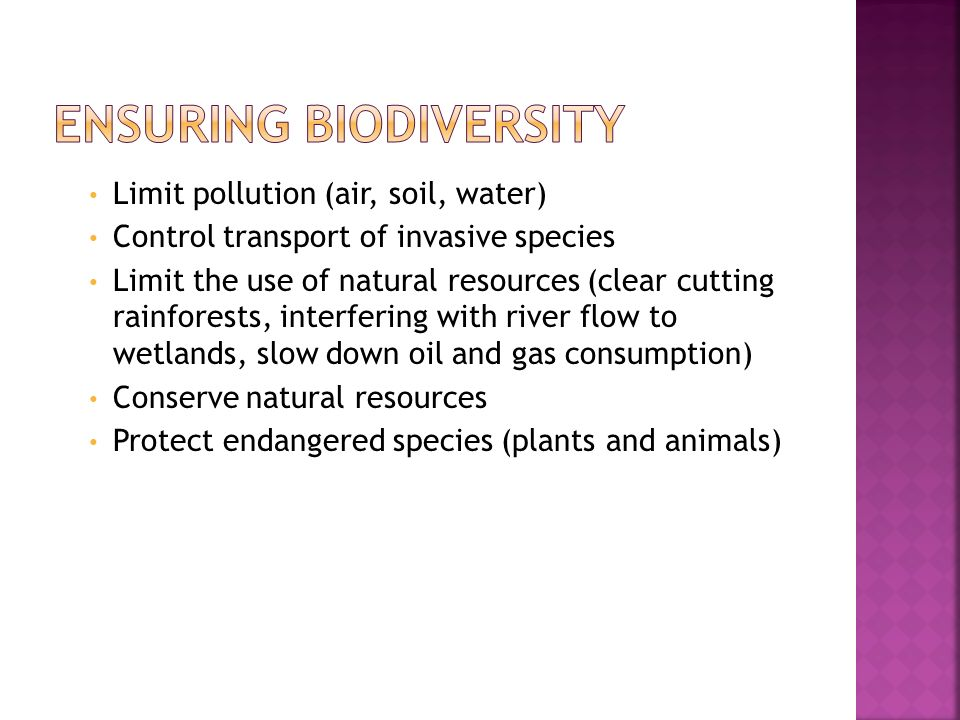 Ensuring Biodiversity
