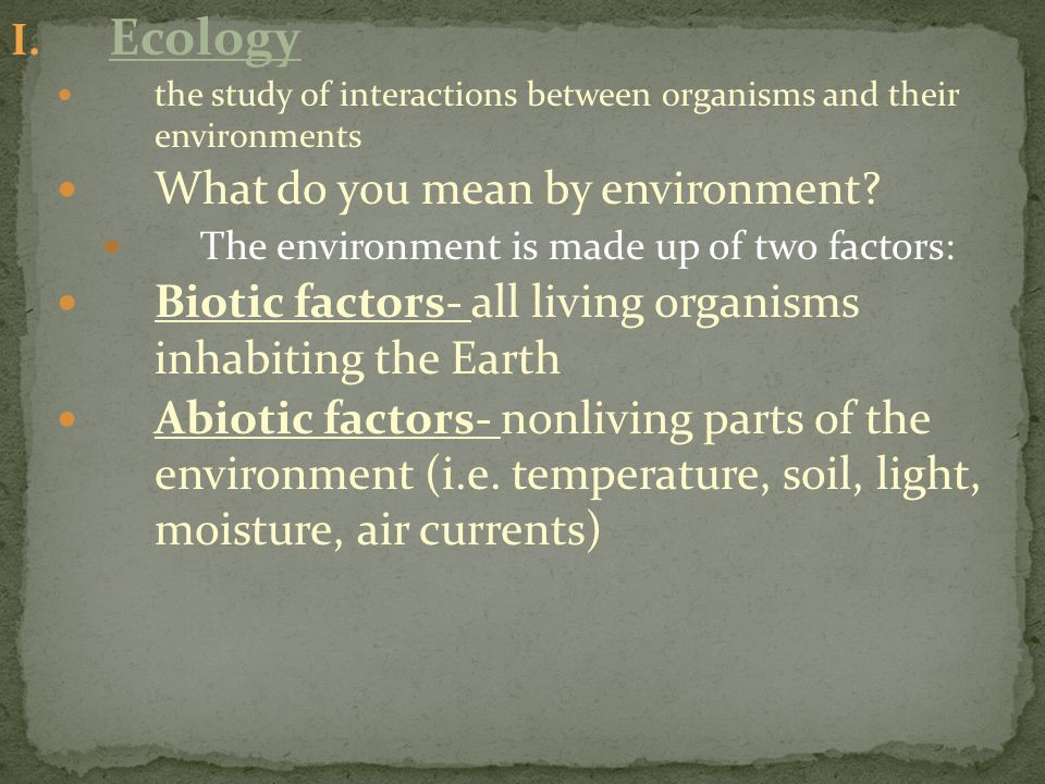 Ecology What do you mean by environment