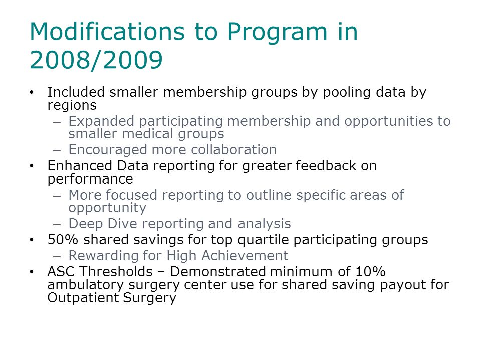 Modifications to Program in 2008/2009