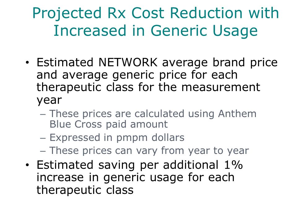 Projected Rx Cost Reduction with Increased in Generic Usage