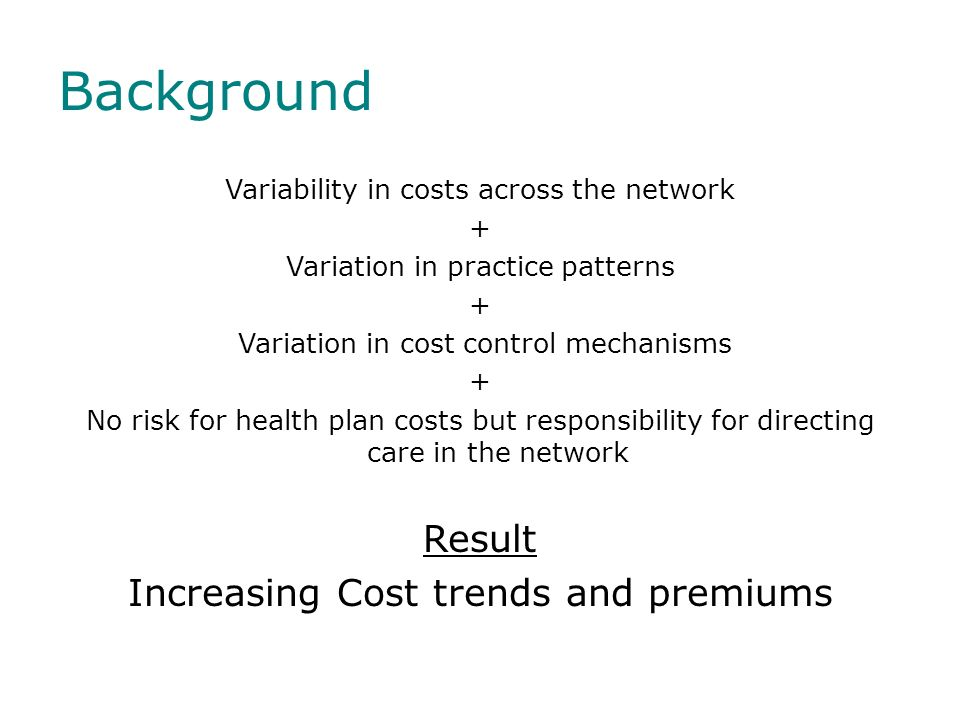 Background Result Increasing Cost trends and premiums