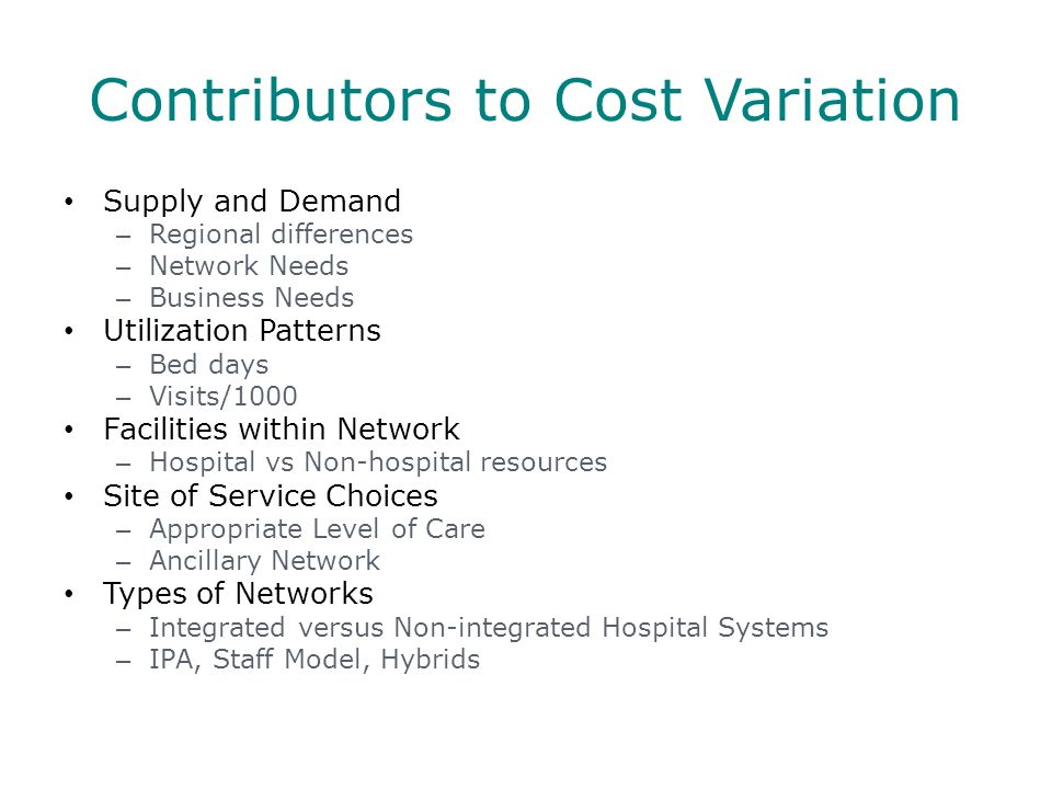 Contributors to Cost Variation