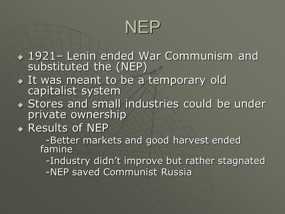 Essay about war communism and nep