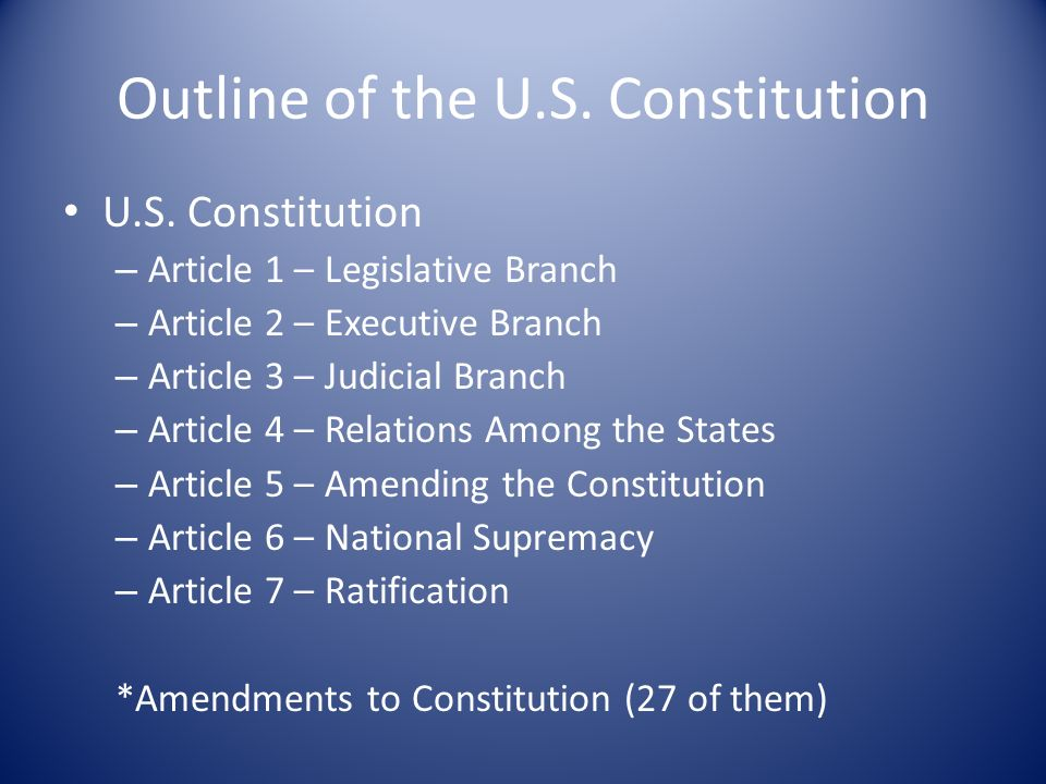 u s constitution outline Historical outline 1 st:  corp us adopted their own constitution (united states constitution), which was identical to the national constitution.