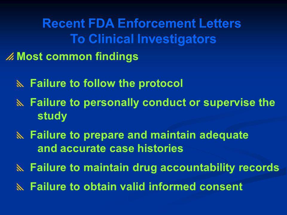 Recent FDA Enforcement Letters To Clinical Investigators