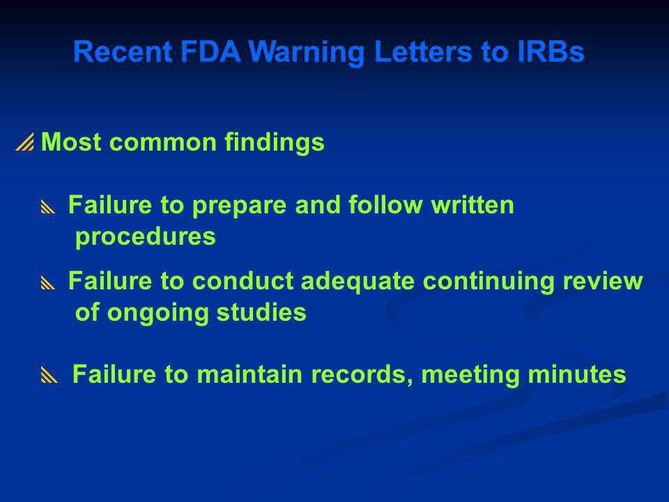Recent FDA Warning Letters to IRBs