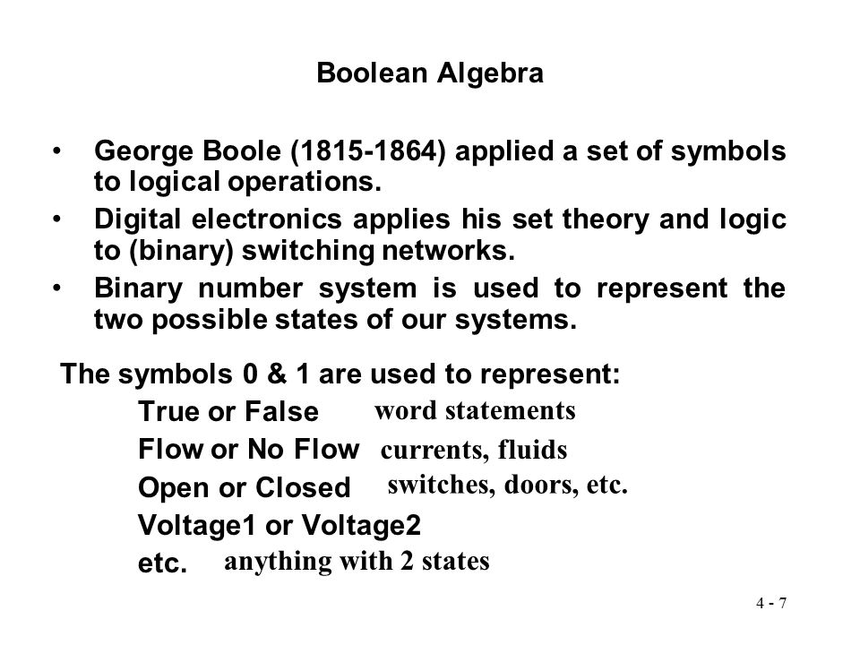 Boolean Algebra George Boole (1815-1864) applied a set of symbols to logical operations.