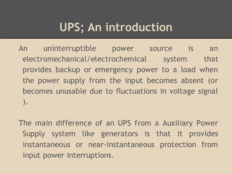 Uninterruptible Power Systems Ppt Video Online Download
