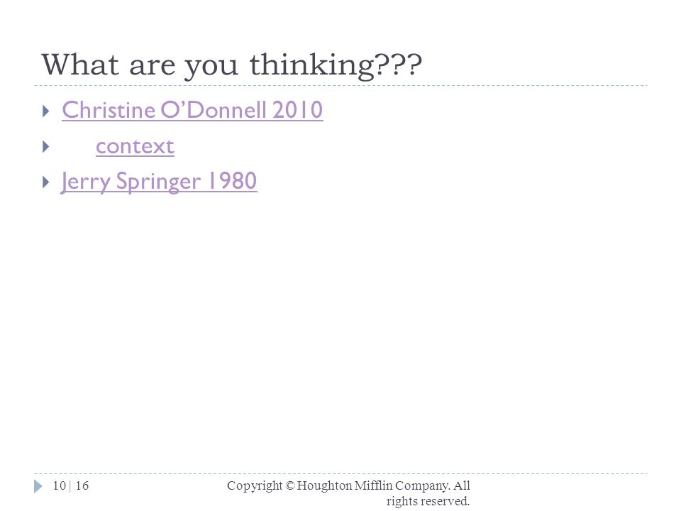 What are you thinking Christine O'Donnell 2010 context