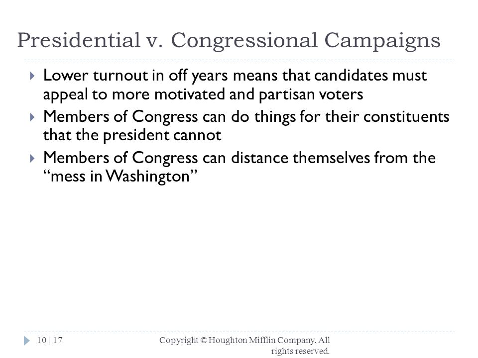 Presidential v. Congressional Campaigns