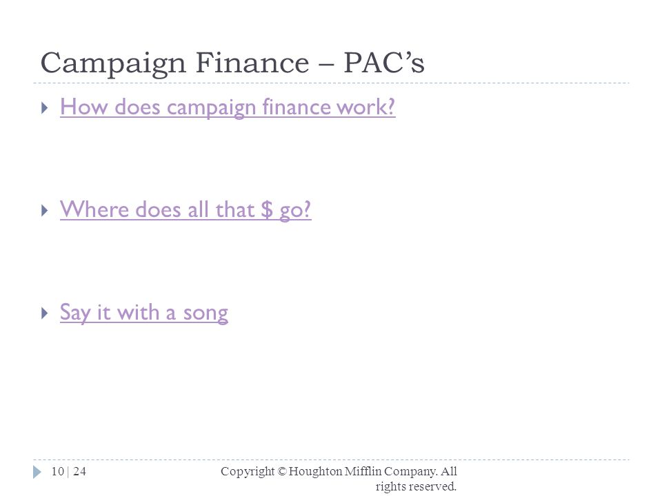 Campaign Finance – PAC's