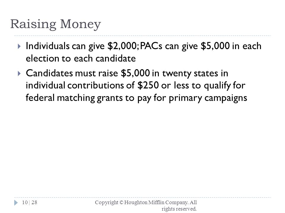 Raising Money Individuals can give $2,000; PACs can give $5,000 in each election to each candidate.