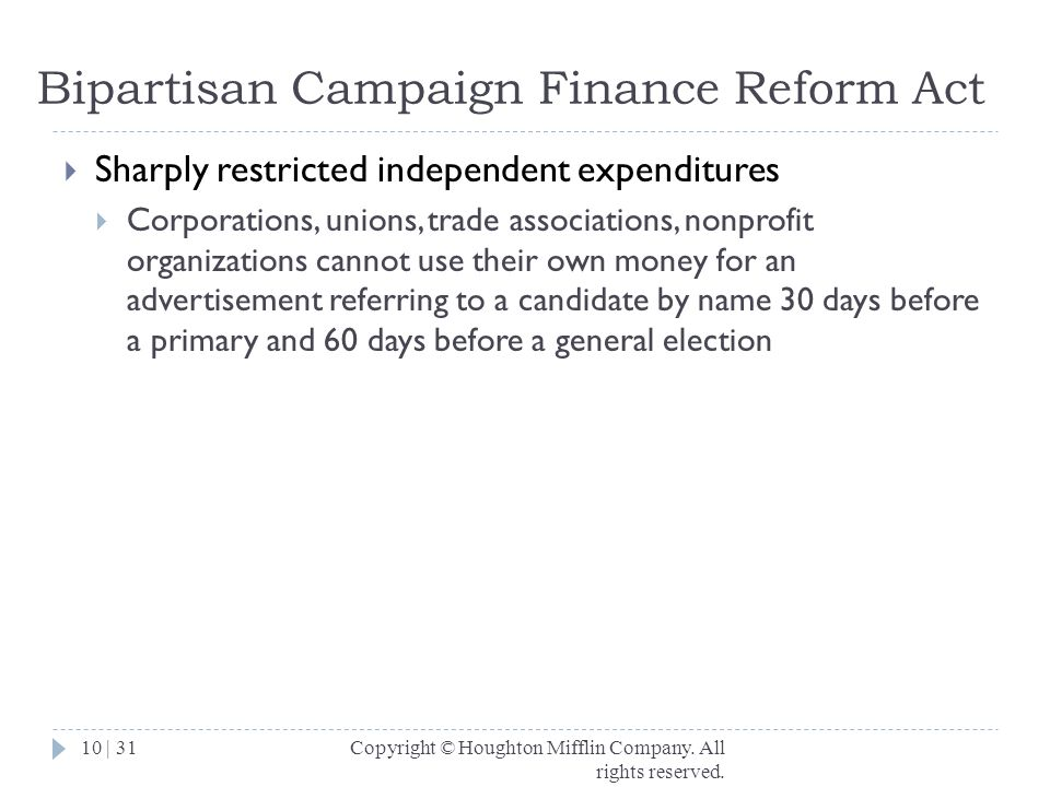 Bipartisan Campaign Finance Reform Act