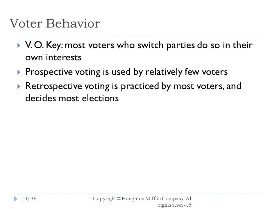 Voter Behavior V. O. Key: most voters who switch parties do so in their own interests. Prospective voting is used by relatively few voters.