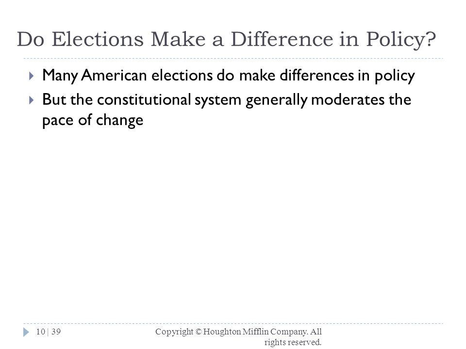 Do Elections Make a Difference in Policy