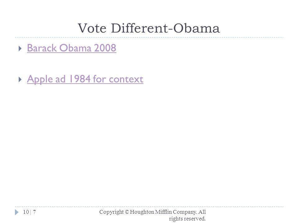 Vote Different-Obama Barack Obama 2008 Apple ad 1984 for context