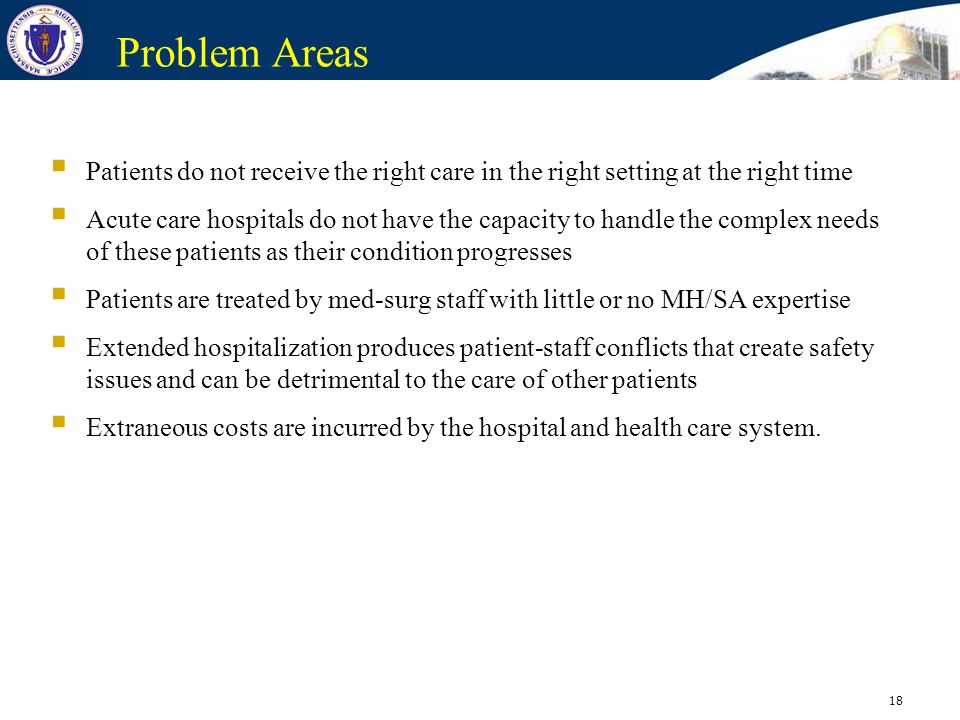 Problem Areas Patients do not receive the right care in the right setting at the right time.