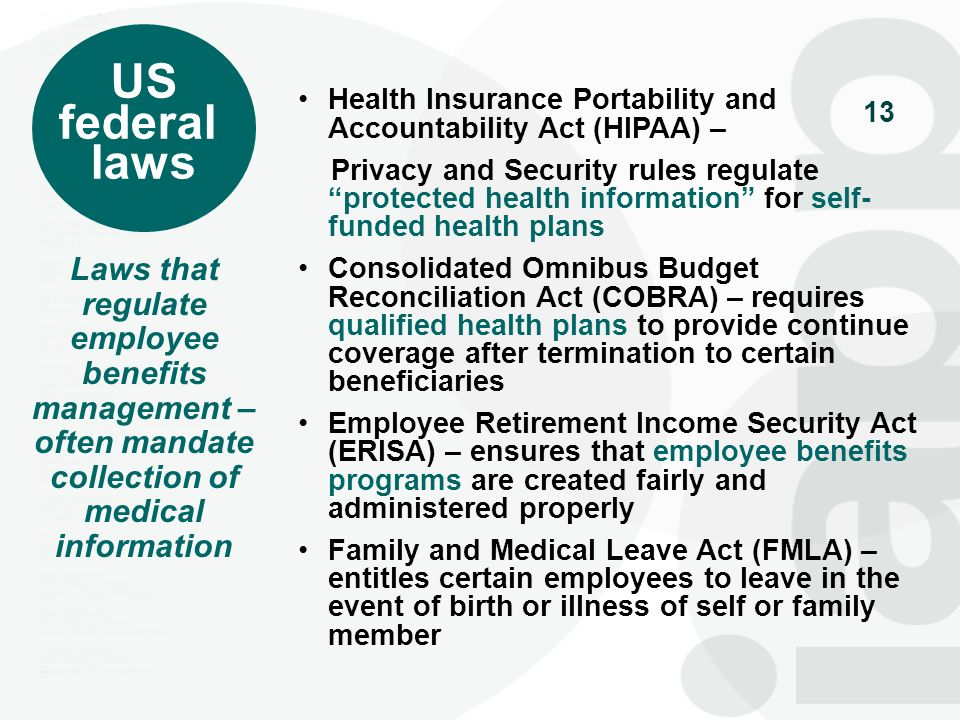 US federal laws Laws that regulate employee benefits management –