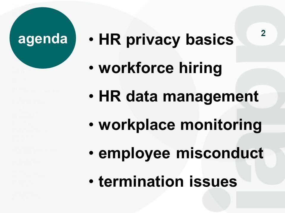HR privacy basics workforce hiring HR data management