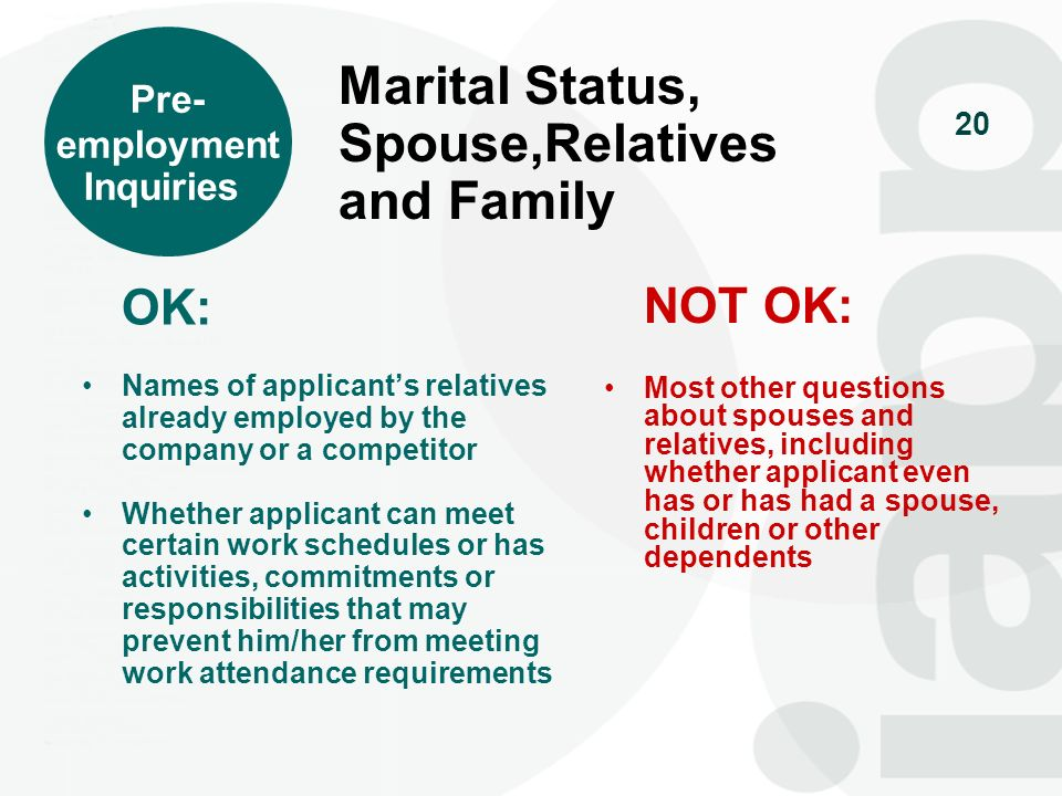 Marital Status, Spouse,Relatives and Family