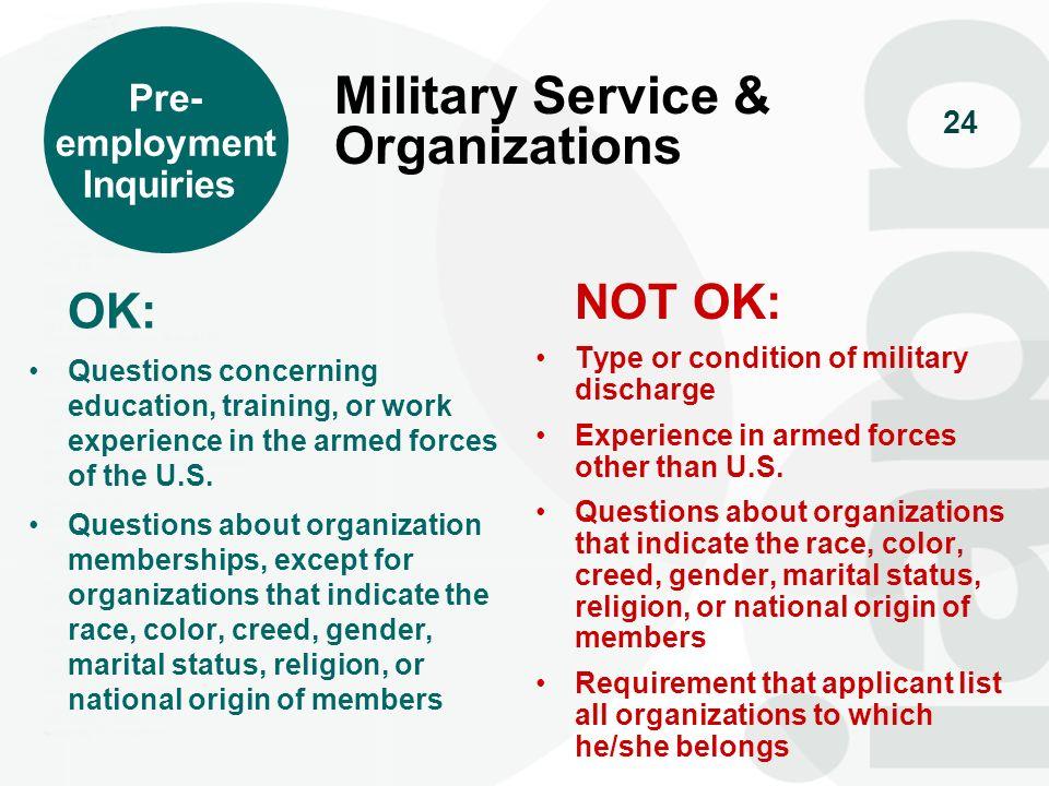Military Service & Organizations