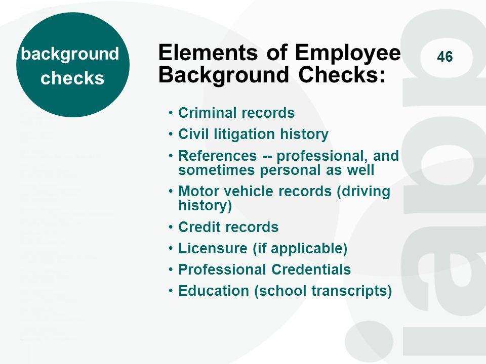 Elements of Employee Background Checks: