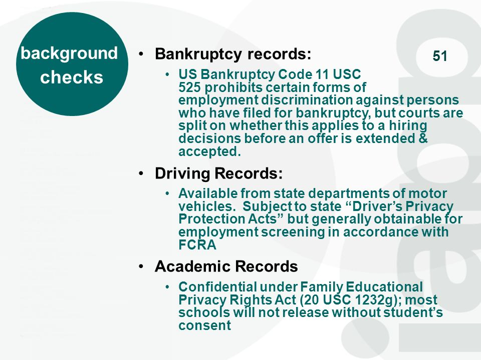 checks background Bankruptcy records: Driving Records: