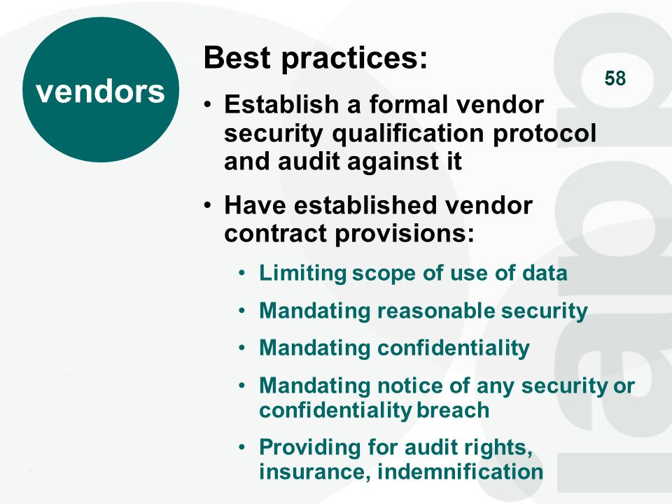 vendors Best practices: