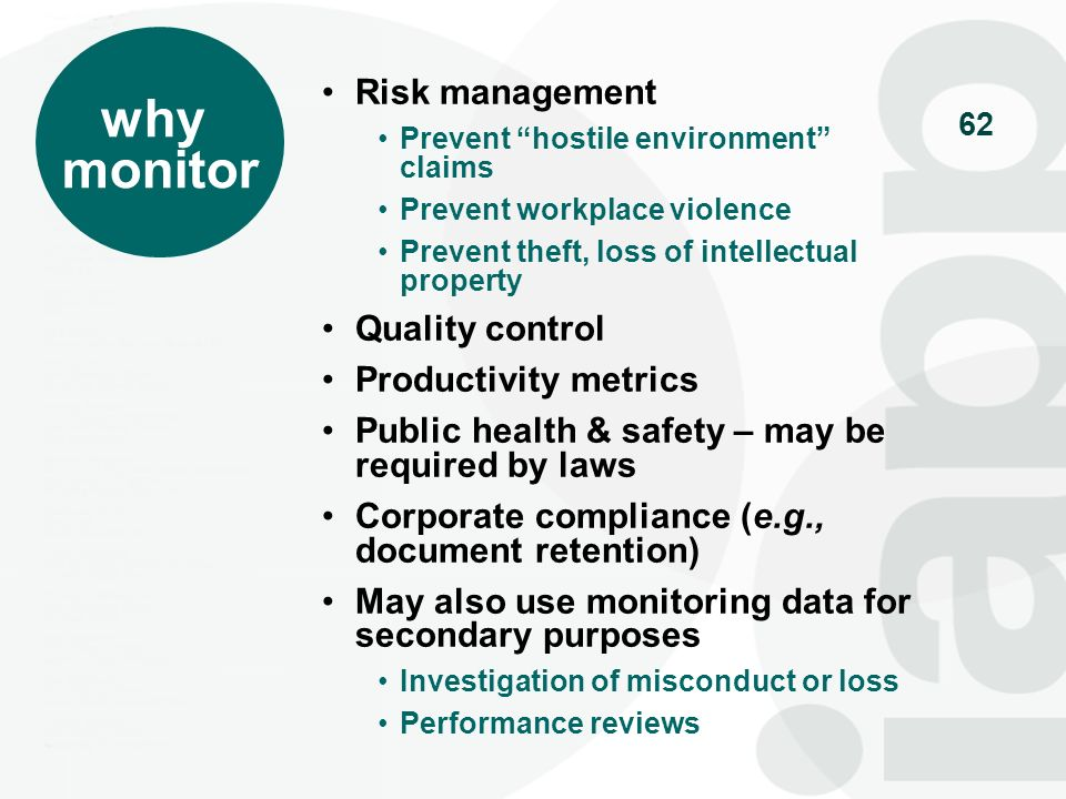 why monitor Risk management Quality control Productivity metrics