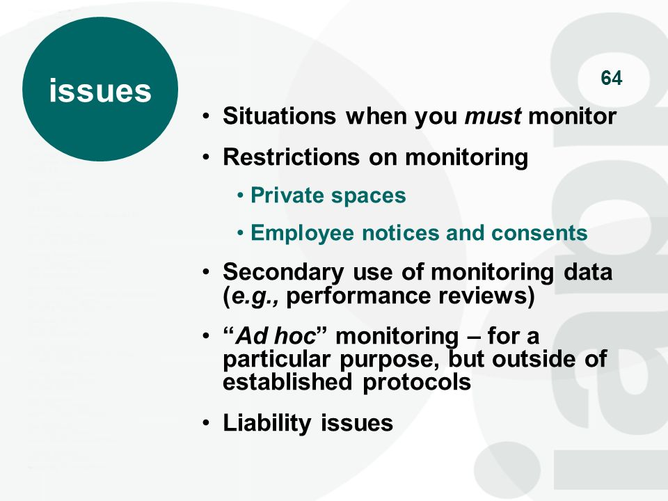issues Situations when you must monitor Restrictions on monitoring