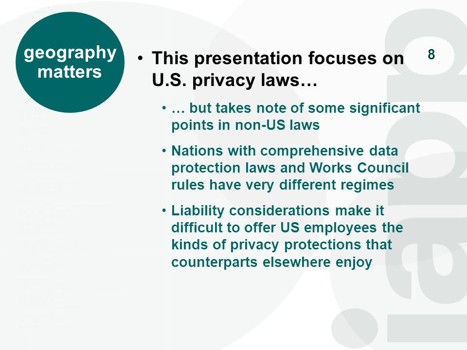 This presentation focuses on U.S. privacy laws…