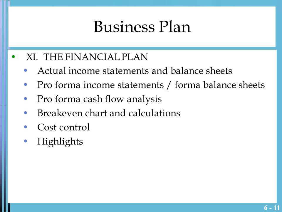 pro forma business plan