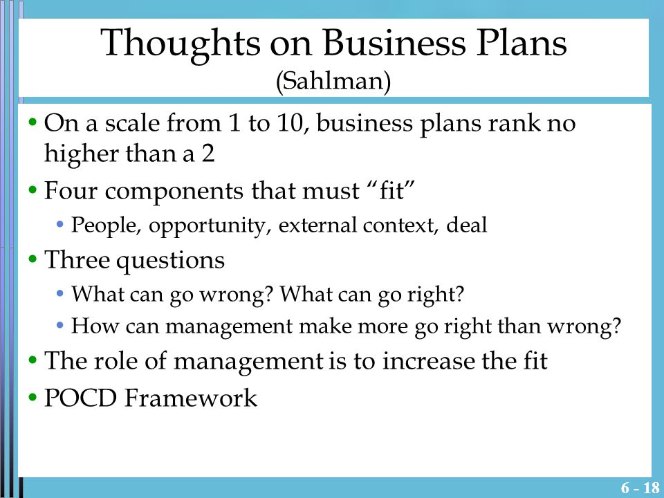 Some Thoughts on Business Plans HBS Case Analysis