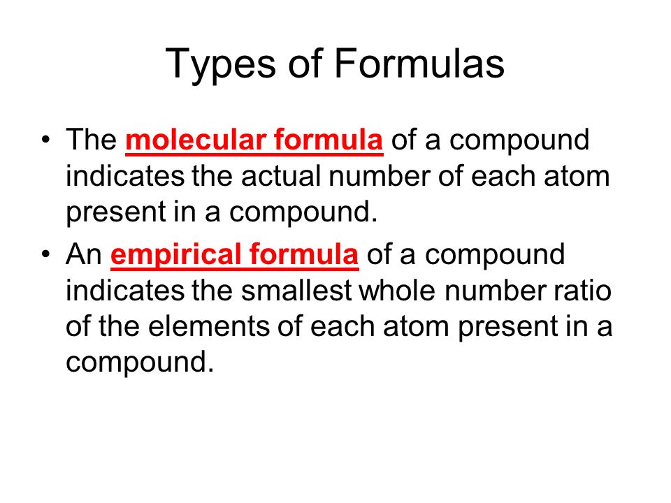 empirical formula of a compound The empirical formula for an ionic compound indicates the smallest whole number ratio of cations and anions needed to produce an electrically.