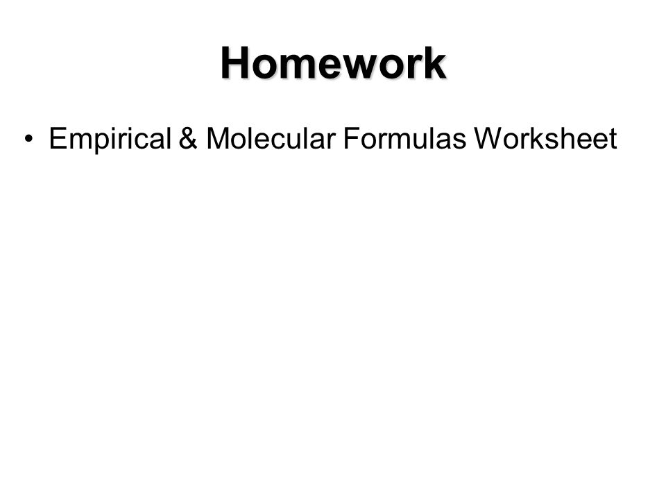 Chemistry empirical and molecular formula worksheet answers