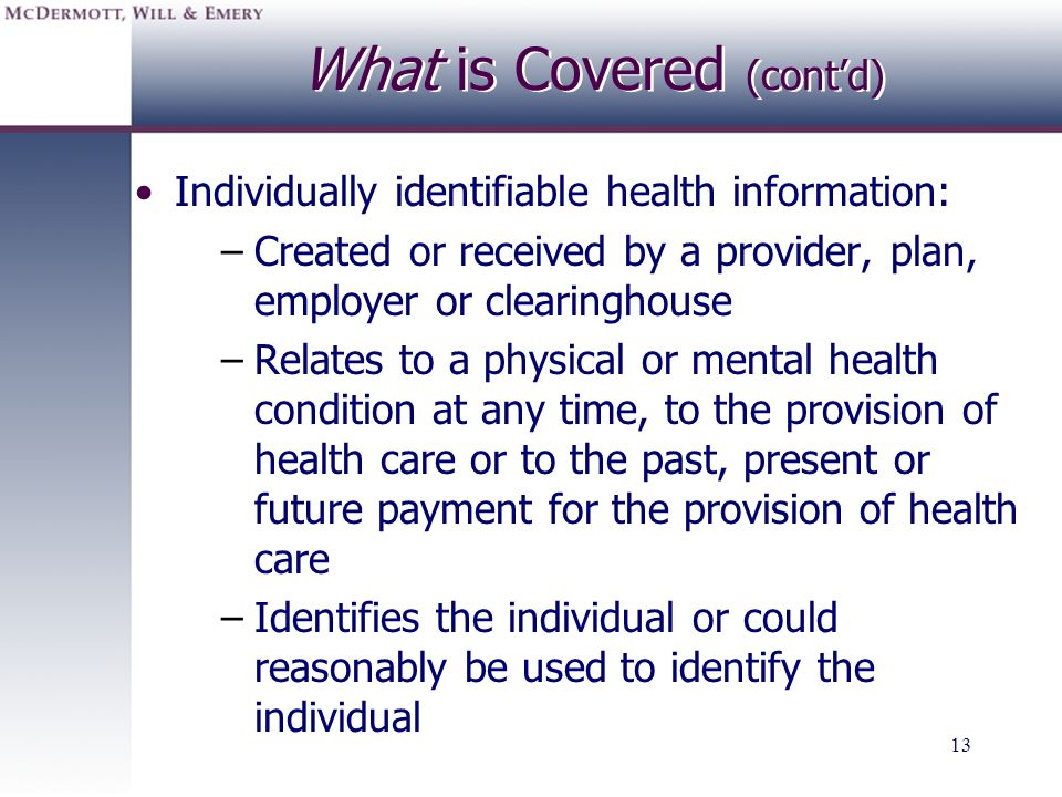 What is Covered (cont'd)