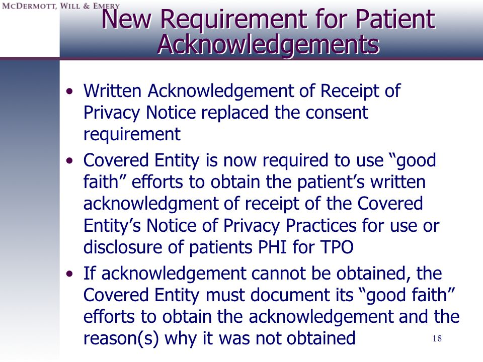 New Requirement for Patient Acknowledgements
