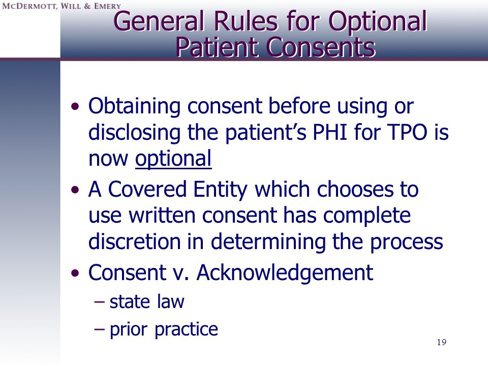 General Rules for Optional Patient Consents