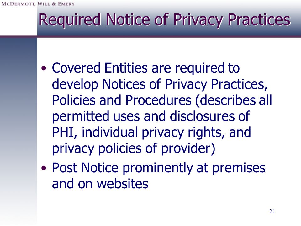 Required Notice of Privacy Practices