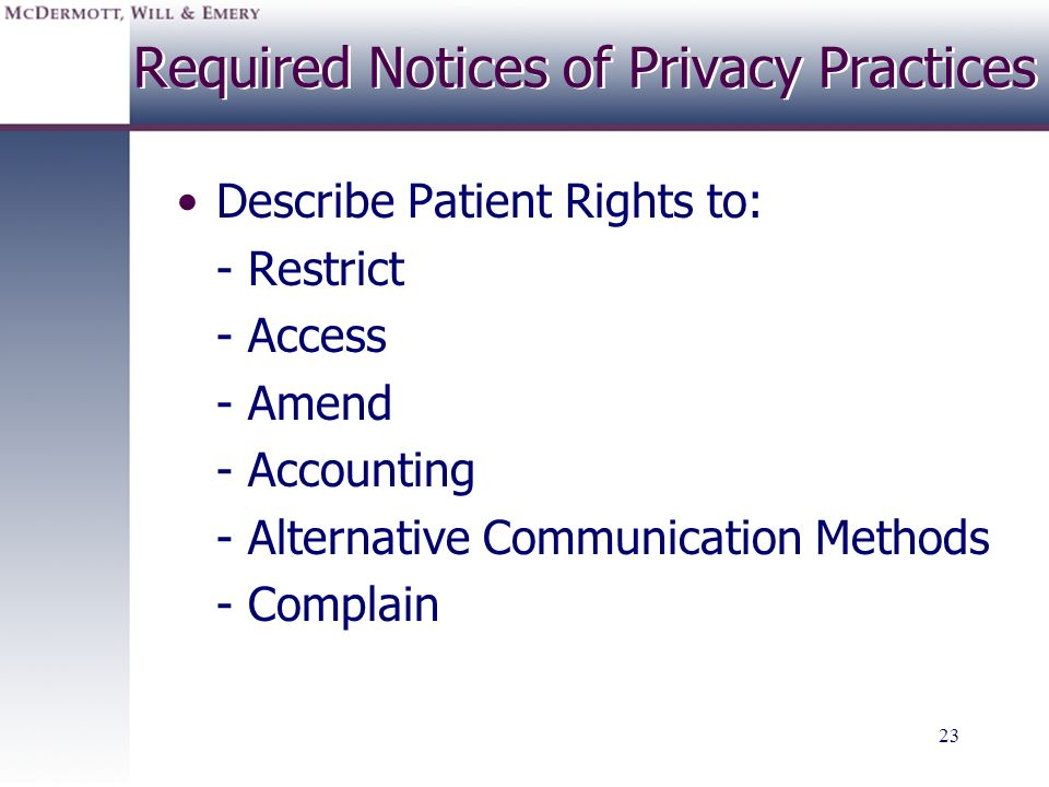 Required Notices of Privacy Practices